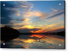 Acrylic Print featuring the photograph Sunset Over Calm Lake by Daniel Reed