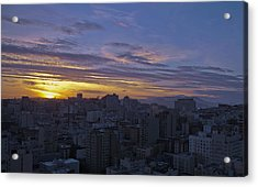 Sunset Over City Acrylic Print