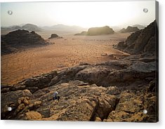 Sunset Over Jordan Wadi Rum Rock Acrylic Print by Jason Jones Travel Photography