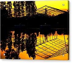 Sunset Over Lake Coeur D Alene Docks Acrylic Print by Cindy Wright