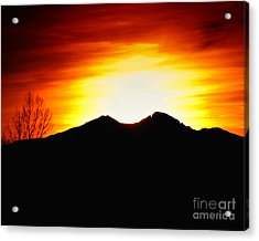 Sunset Over Longs Peak Acrylic Print by Harry Strharsky