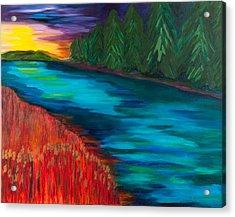 Sunset Over Pines Acrylic Print by Dani Altieri Marinucci