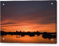 Sunset Over River Acrylic Print by Axiom Photographic