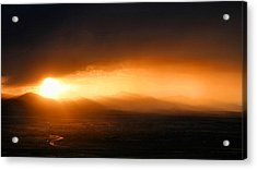 Sunset Over Salt Lake City Acrylic Print by Kristin Elmquist