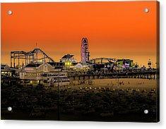 Sunset Over Santa Monica Pier Acrylic Print by Trevor Seitz