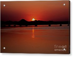 Sunset Over The Big Dam Bridge Acrylic Print by Joe Finney