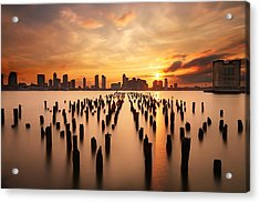Sunset Over The Hudson River Acrylic Print by Larry Marshall