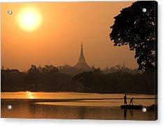 Sunset Over The Shwedagon Pagoda Acrylic Print by Austin Bush