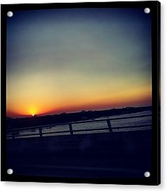 #sunset #rainbow #cool #bridge #driving Acrylic Print