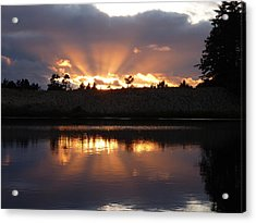 Acrylic Print featuring the photograph Sunset Rays Bursting Over Lake Bradley by Cindy Wright