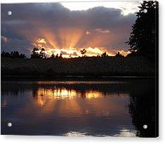 Sunset Rays Bursting Over Lake Bradley Acrylic Print by Cindy Wright