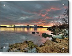 Sunset Reflecting Water,clouds, Sandnessund Bridge Acrylic Print by Bernt Olsen