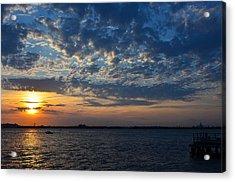 Acrylic Print featuring the photograph Sunset Rockaway Point Pier by Maureen E Ritter