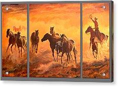 Sunset Run Triptych Acrylic Print by Jana Goode
