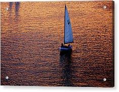 Sunset Sailing Acrylic Print by Rick Berk