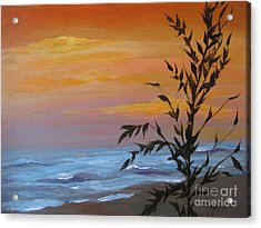 Acrylic Print featuring the painting Sunset Sea Oats by Gretchen Allen