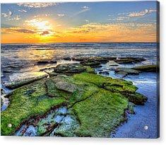 Sunset Siesta Key Rocks Acrylic Print by Jenny Ellen Photography