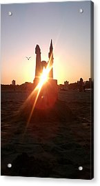 Acrylic Print featuring the photograph Sunset Sunlit Sandcastle With Flying Bird On A Chicago Beach by M Zimmerman