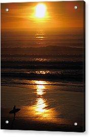Sunset Surfer Acrylic Print by Luis Esteves