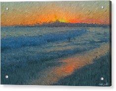 Sunset Surfers Acrylic Print by Heidi Smith