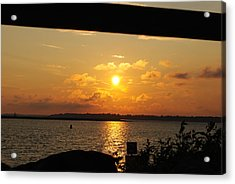 Acrylic Print featuring the photograph Sunset Through The Rails by Michael Frank Jr