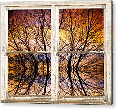 Sunset Tree Silhouette Colorful Abstract Picture Window View Acrylic Print by James BO  Insogna