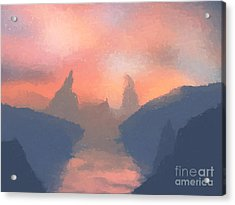 Sunset Valley  Acrylic Print by Pixel  Chimp