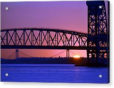 Acrylic Print featuring the photograph Sunset Verrazano Under Marine Park Bridge by Maureen E Ritter