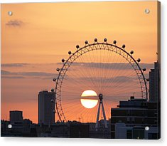 Sunset Viewed Through The London Eye Acrylic Print by Photograph by Lars Plougmann