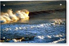 Sunset Wave Rockaway Beach Nyc Acrylic Print by Maureen E Ritter