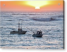 Sunset With Fishing Boats Acrylic Print