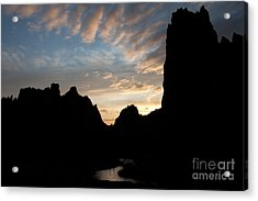 Sunset With Rugged Cliffs In Silhouette Acrylic Print by Karen Lee Ensley