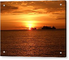 Sunset With Ship Acrylic Print