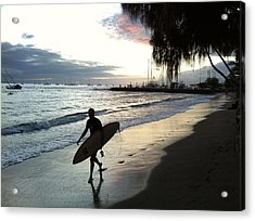 Sunsetsurf Acrylic Print by Kathy Corday