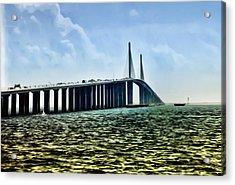 Sunshine Skyway Bridge - Tampa Bay Acrylic Print by Bill Cannon