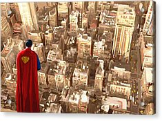 Superman Over Metropolis Signed Prints Available At Laartwork.com Coupon Code Kodak Acrylic Print by Leon Jimenez