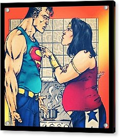 #superman #wonderwoman #realfamily Acrylic Print