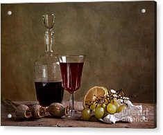 Supper With Wine Acrylic Print by Nailia Schwarz