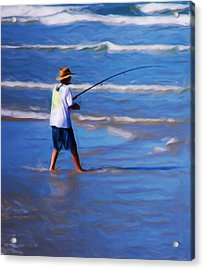 Surf Casting Acrylic Print by David Lane