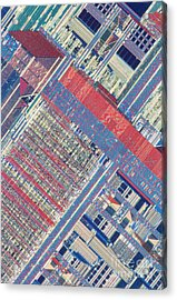 Surface Of Integrated Chip Acrylic Print by Michael W. Davidson