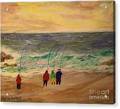Surfcasters At Sunrise Acrylic Print
