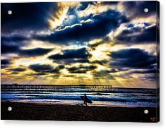 Surfer At Pacific Beach Acrylic Print by Chris Lord