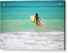 Surfer Girl Paddling Out Acrylic Print by Tomas Del Amo - Printscapes