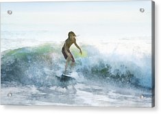 Surfer On A Morning Wave Acrylic Print by Francesa Miller