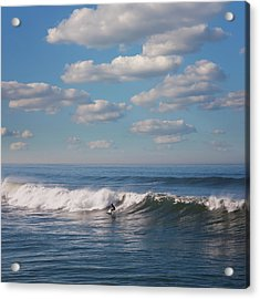 Surfer Riding Big Wave Acrylic Print by Maciej Toporowicz, NYC