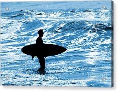 Surfer Silhouette Acrylic Print by Carlos Caetano
