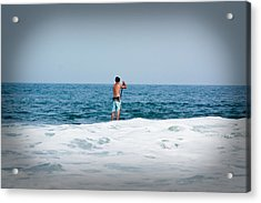 Acrylic Print featuring the photograph Surfer Waiting For Next Wave by Ann Murphy