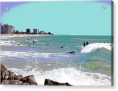 Acrylic Print featuring the mixed media Surfers At Venice Beach by Charles Shoup