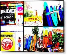 Surfing Bali Beaches Acrylic Print by Funkpix Photo Hunter