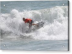 Surfing In Cocoa Beach Acrylic Print by Jeanne Andrews